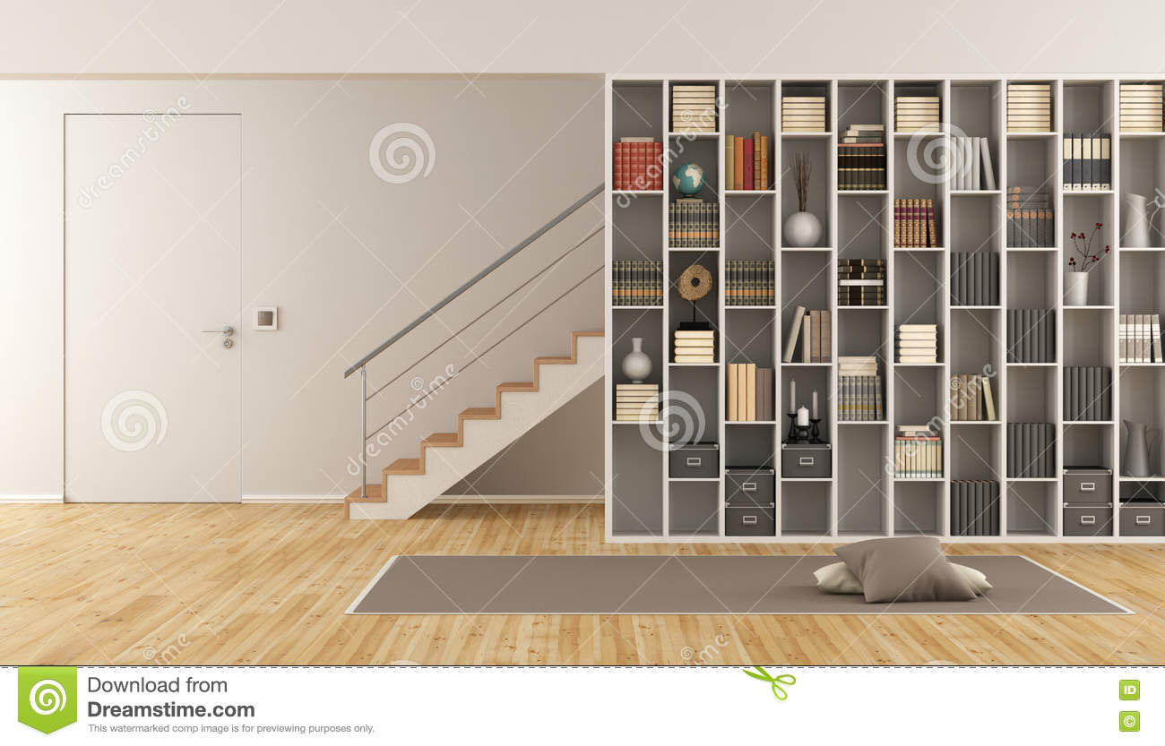 Living Room With Bookcase And Staircase Stock Illustration Illustration Of Stair Steel 82176956
