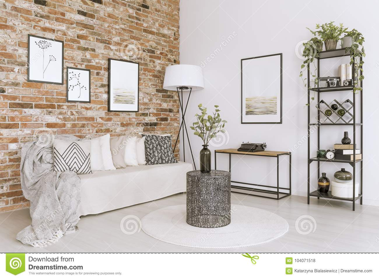 brick wall living room living room with brick wall stock photo image of open 11853
