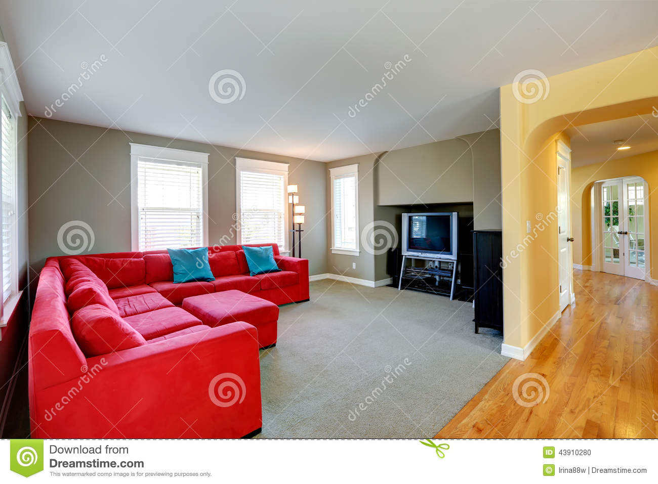 Living Room Red Couch living room and corridor stock photography - image: 11835062