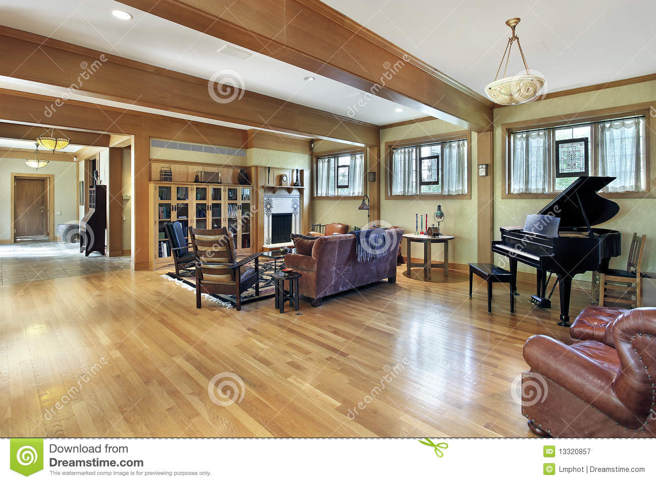 Living room with ceiling beams stock image image of - Living room ceiling beams ...