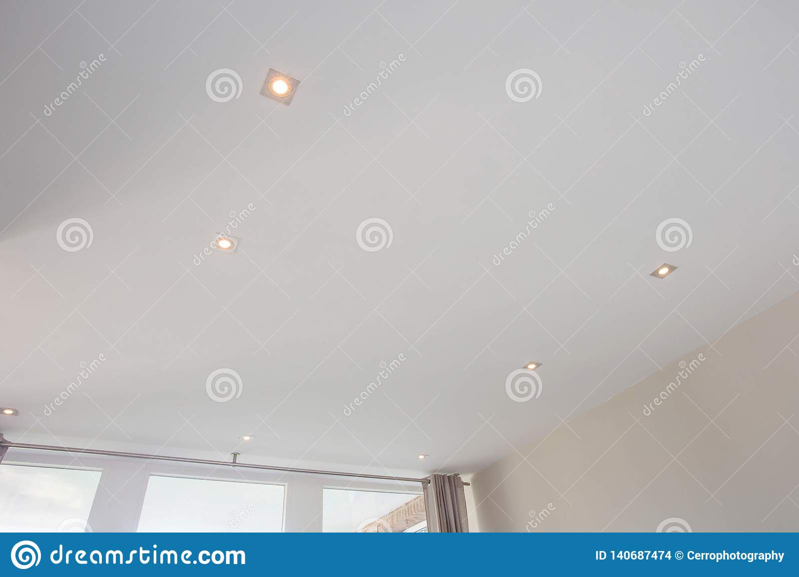 Living Room Ceiling Halogen Spots Modern Design Spot Light Stock Photo Image Of Empty Illuminated 140687474