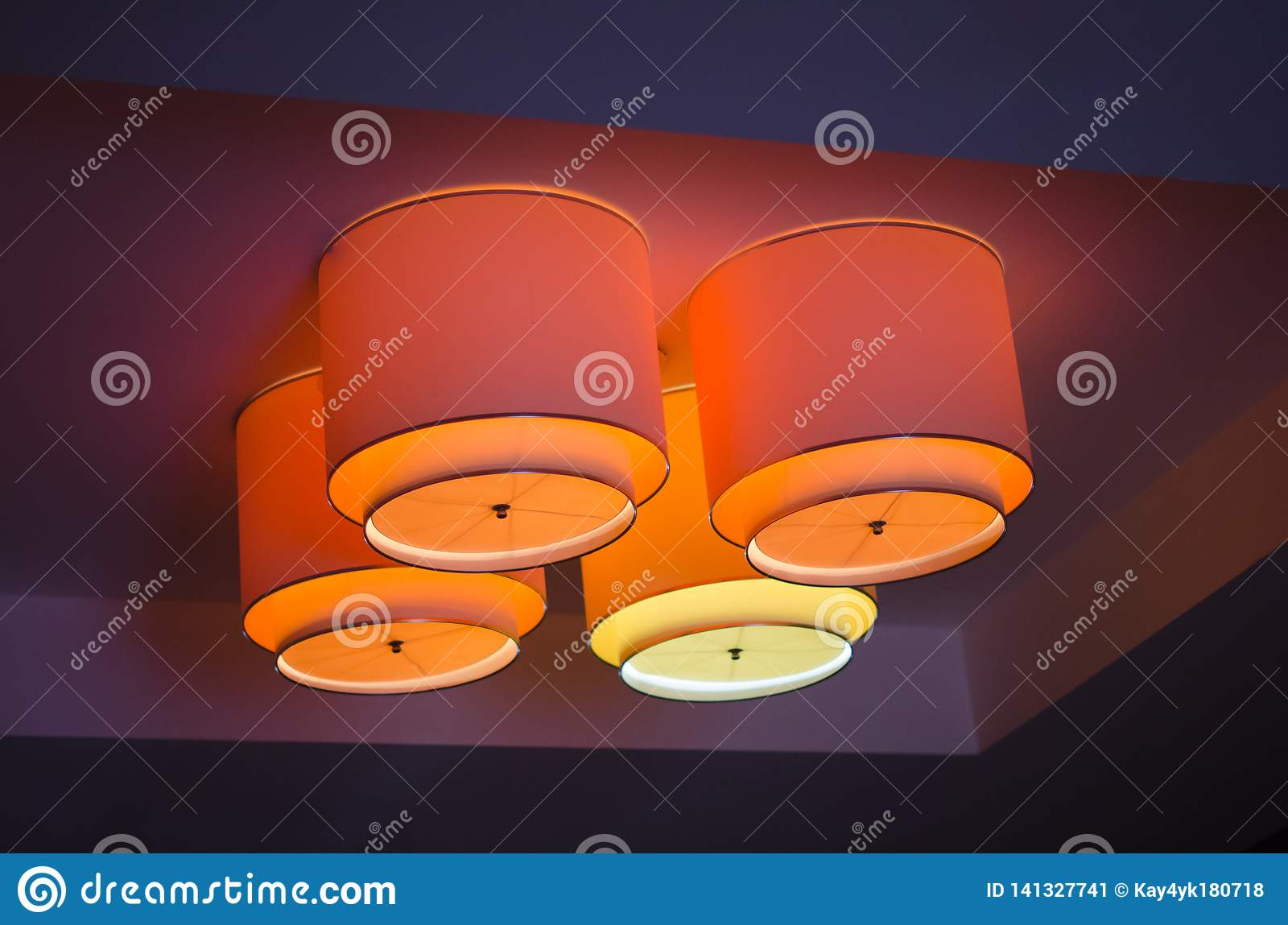 Living Room Ceiling Illuminated With Led Strip Light Stock