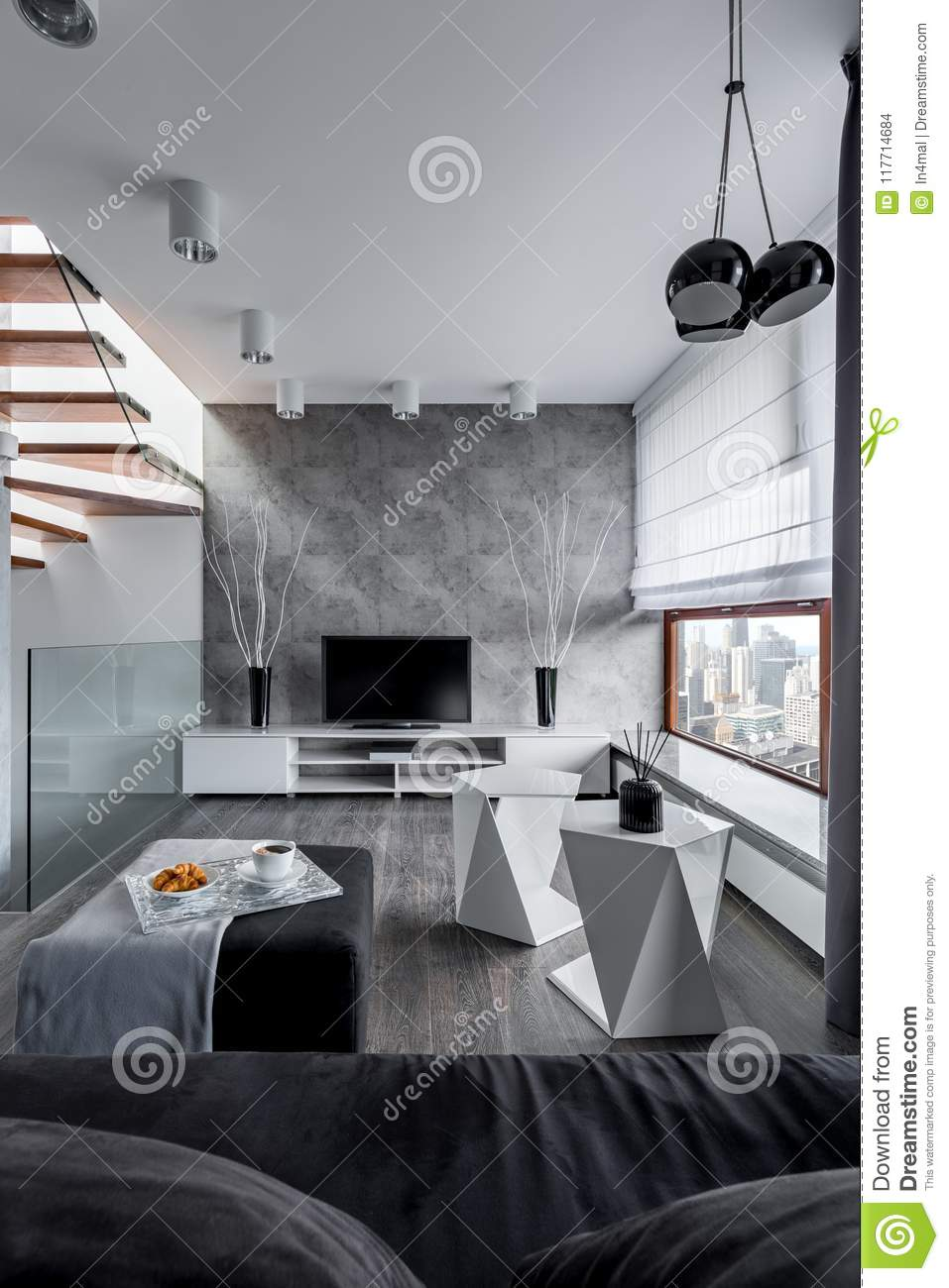 Living Room With Cement Wall Stock Photo Image Of Perfect