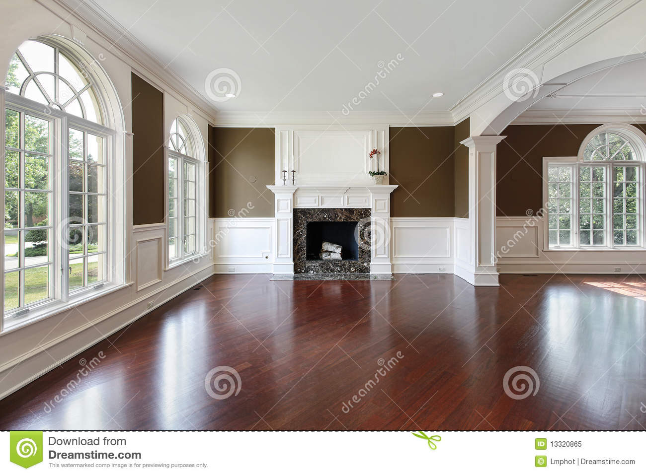 Living Room With Cherry Wood Flooring Stock Image Image