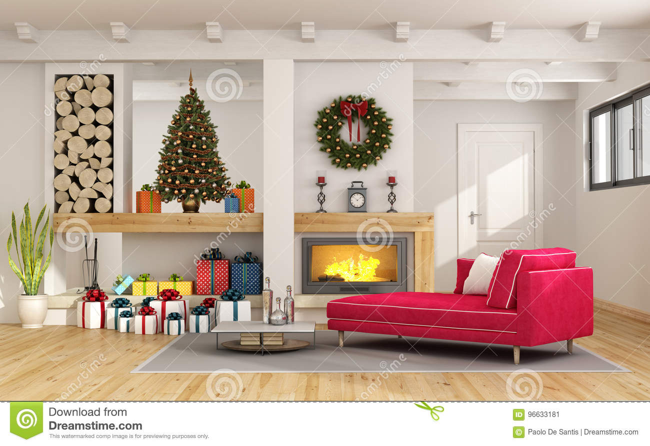 Living Room With Christmas Decorations Stock Illustration