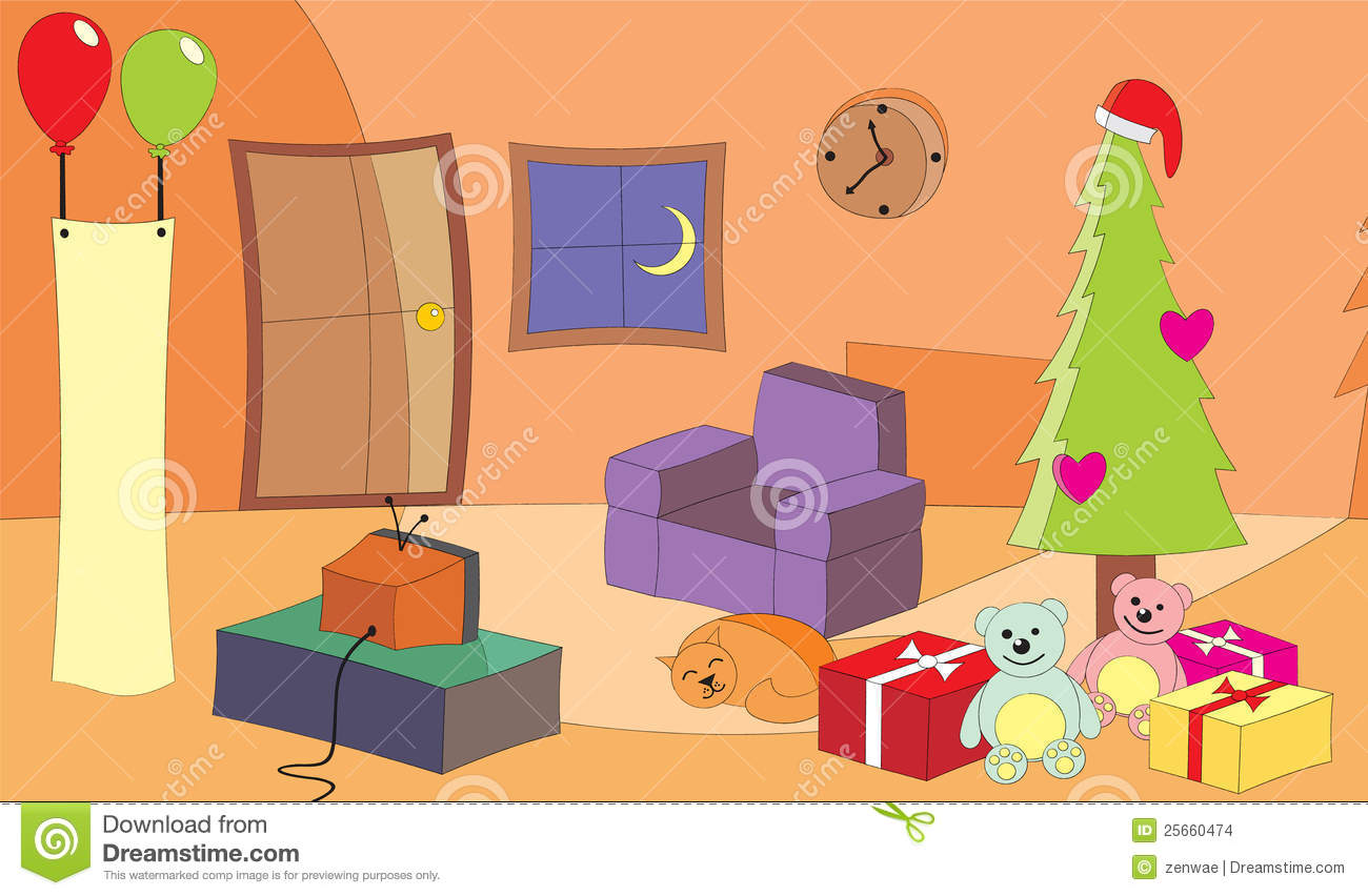 Vector Illustration Of A Living Room With TV Turn On At Christmas Eve Clipart Wohnzimmer