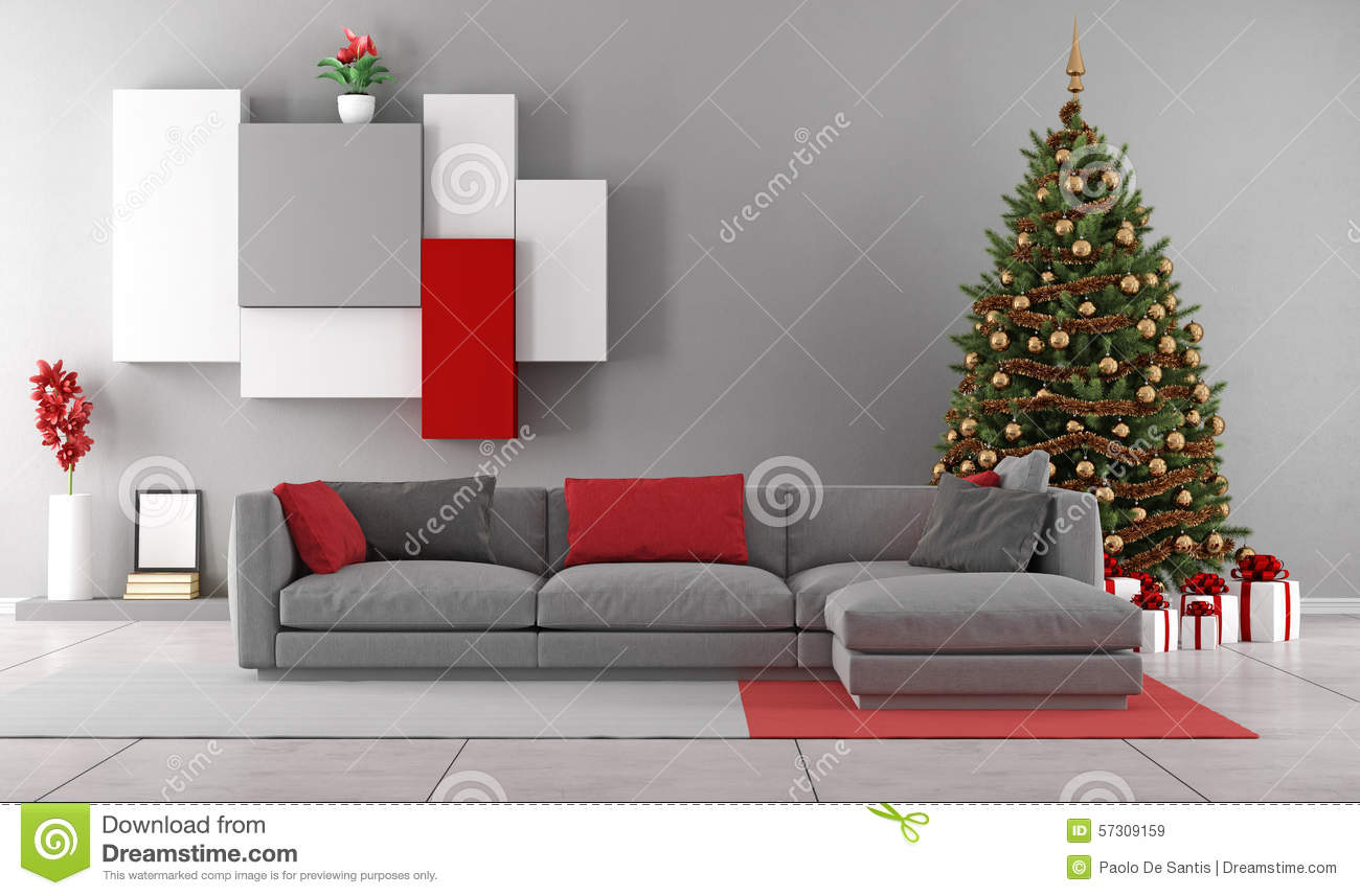 Living room with christmas tree stock illustration illustration of green sofa 57309159 for Christmas tree in living room photos