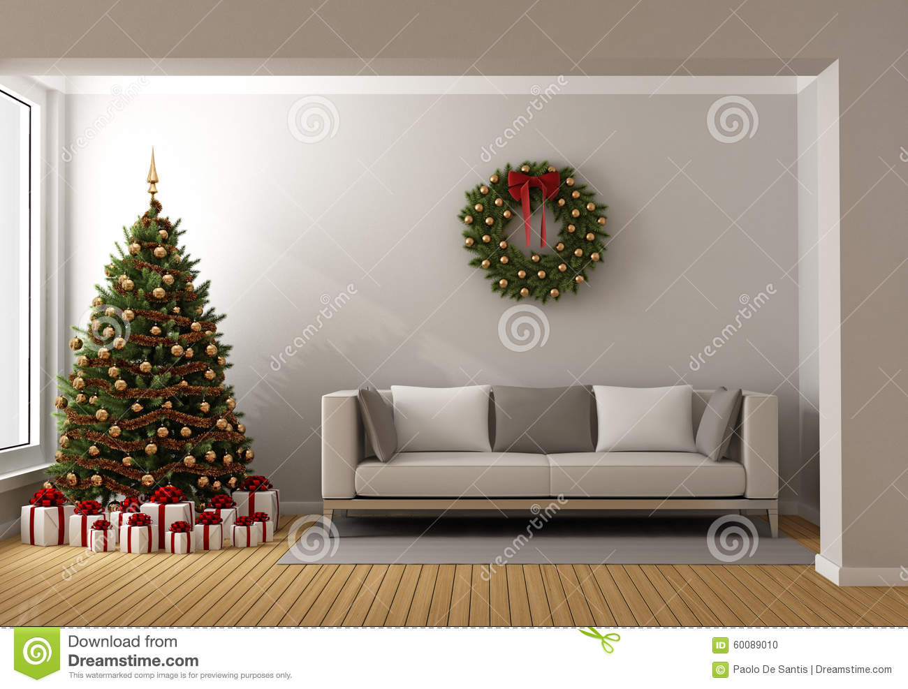 Christmas Tree Living Room living room with christmas tree stock illustration - image: 60089010