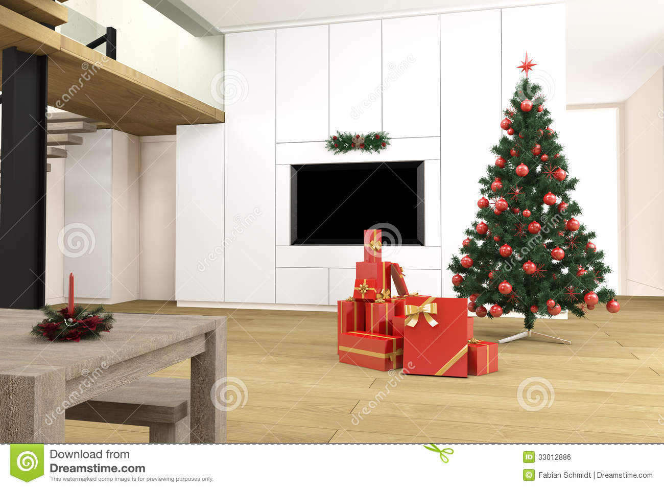Living room with christmas tree stock illustration illustration of giftwrapped decorations for Christmas tree in living room photos