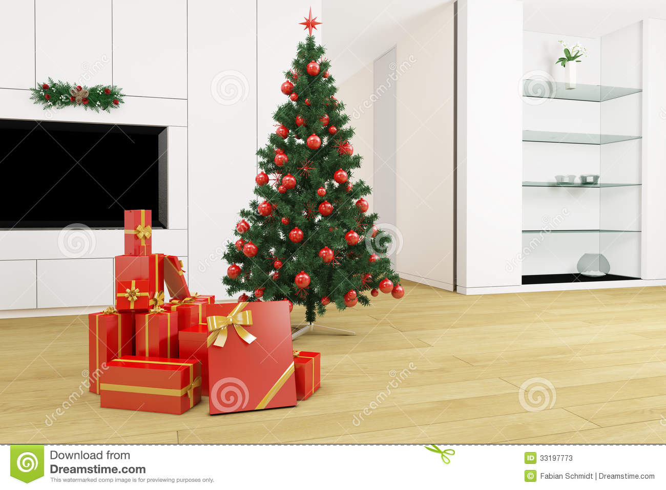 Christmas Tree Living Room living room with christmas tree stock photos - image: 33197773