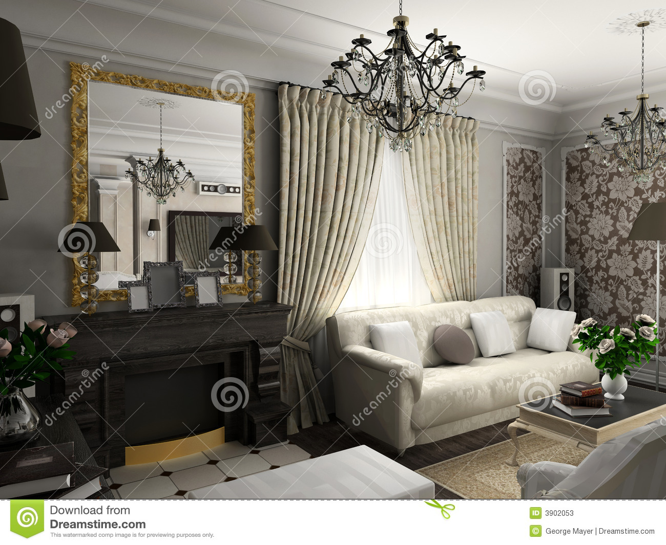 Living room with the classic furniture stock photos - Sofas clasicos ...