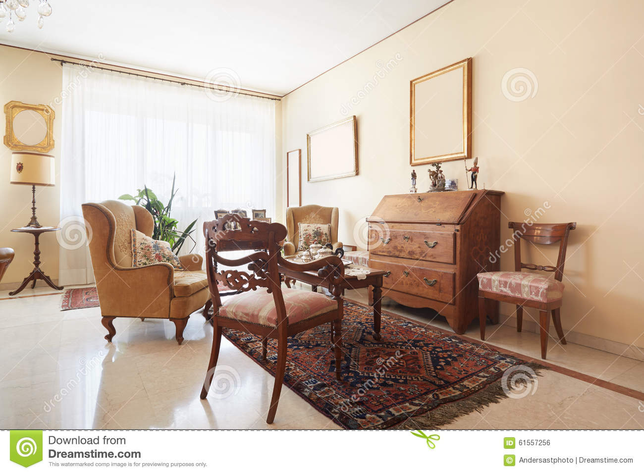 Living Room Classic Interior With Antiquities Stock Photo Image Of Decor Home 61557256