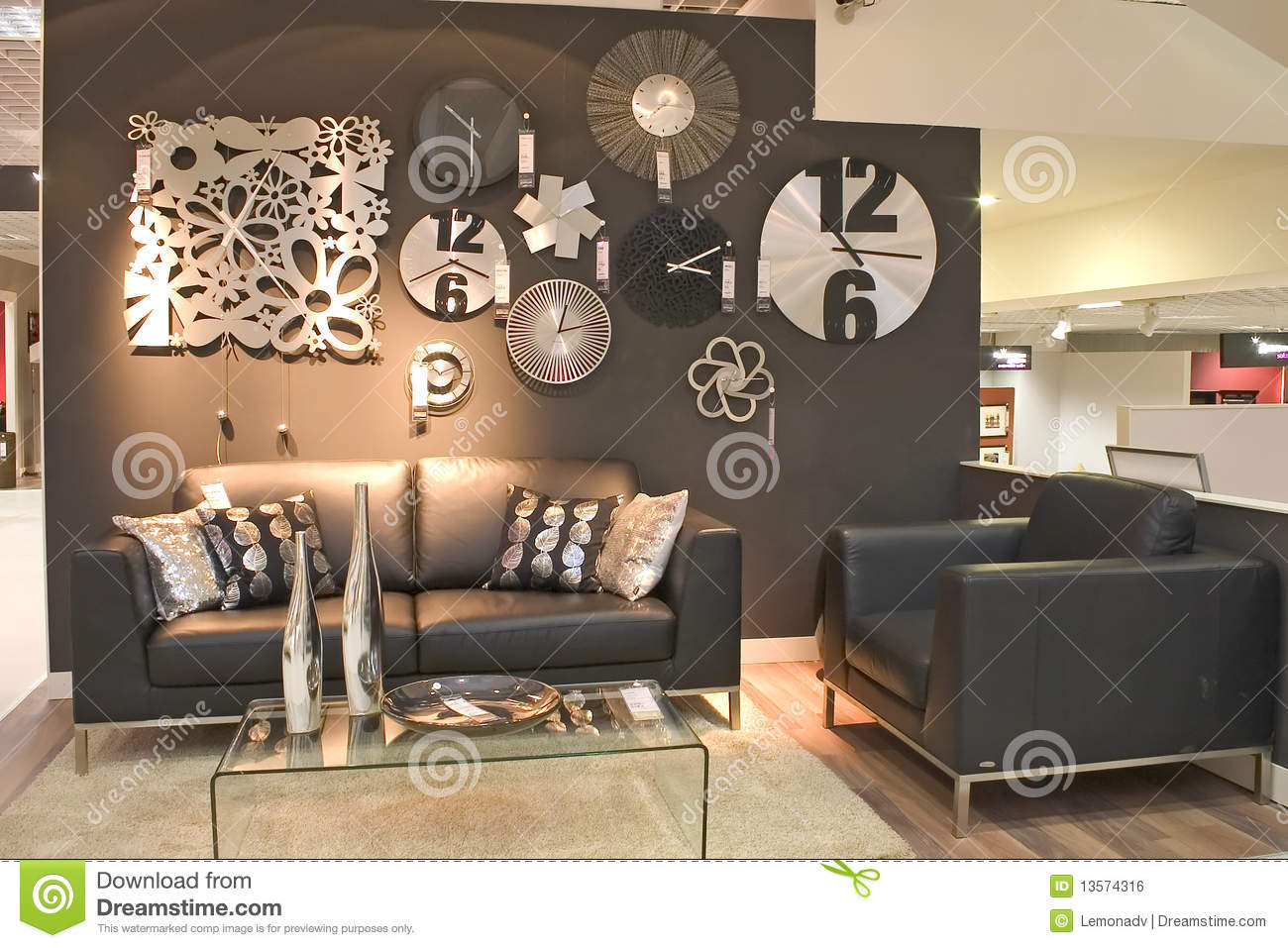 Living Room With Clocks Stock Photo Image Of Furniture