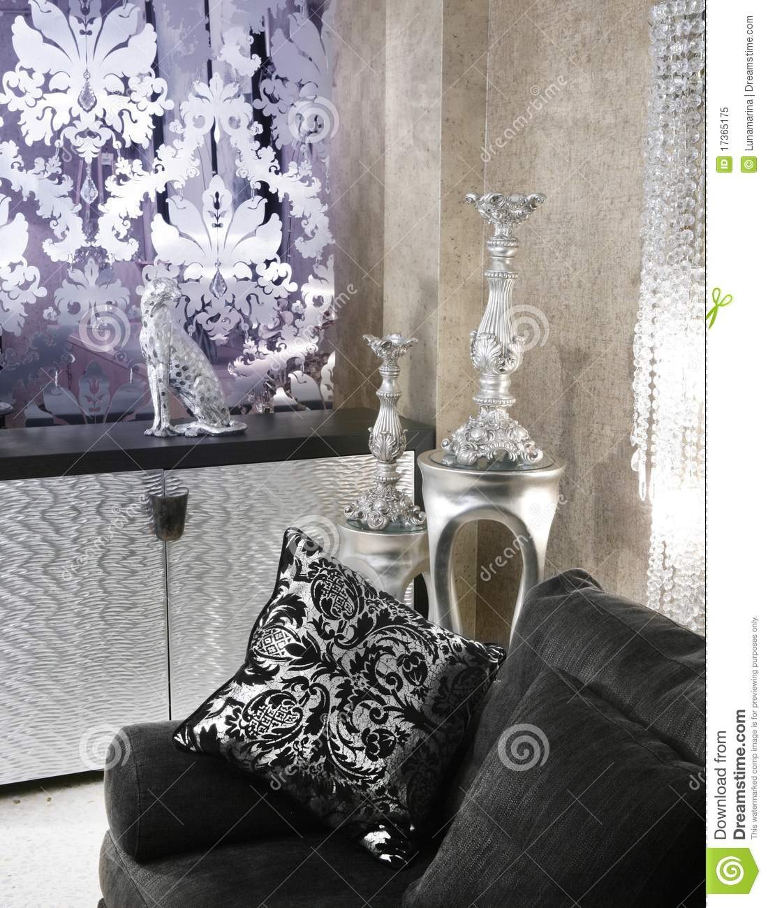 Living Room Coach Black Sofa Silver Furniture Royalty Free Stock   Living Room Coach Black Sofa Silver Furniture Royalty Free Stock Photo. Black And Silver Living Room. Home Design Ideas