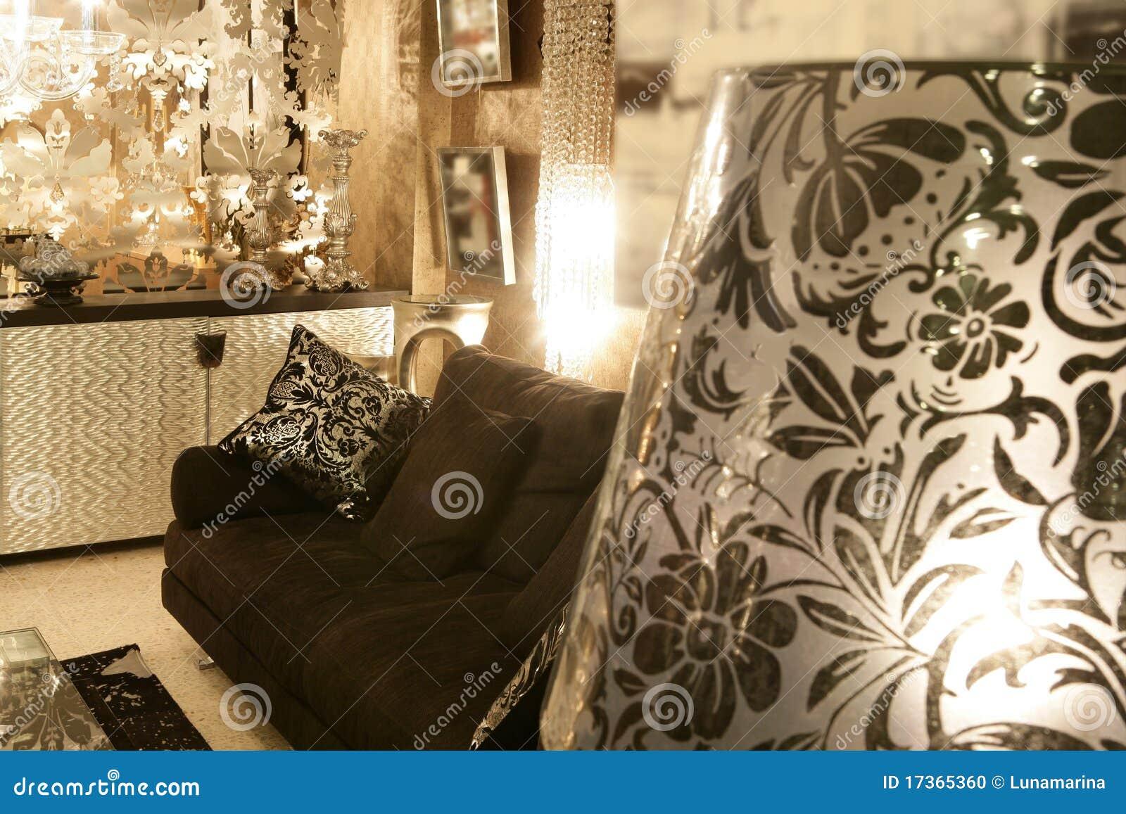 Living Room Coach Black Sofa Silver Furniture Stock Photo - Image ...