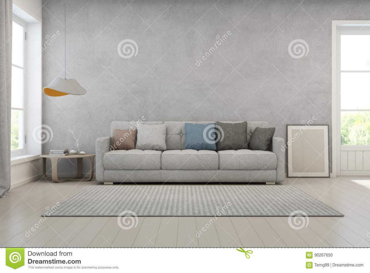3d rendering of interior with sofa coffee table and lamp