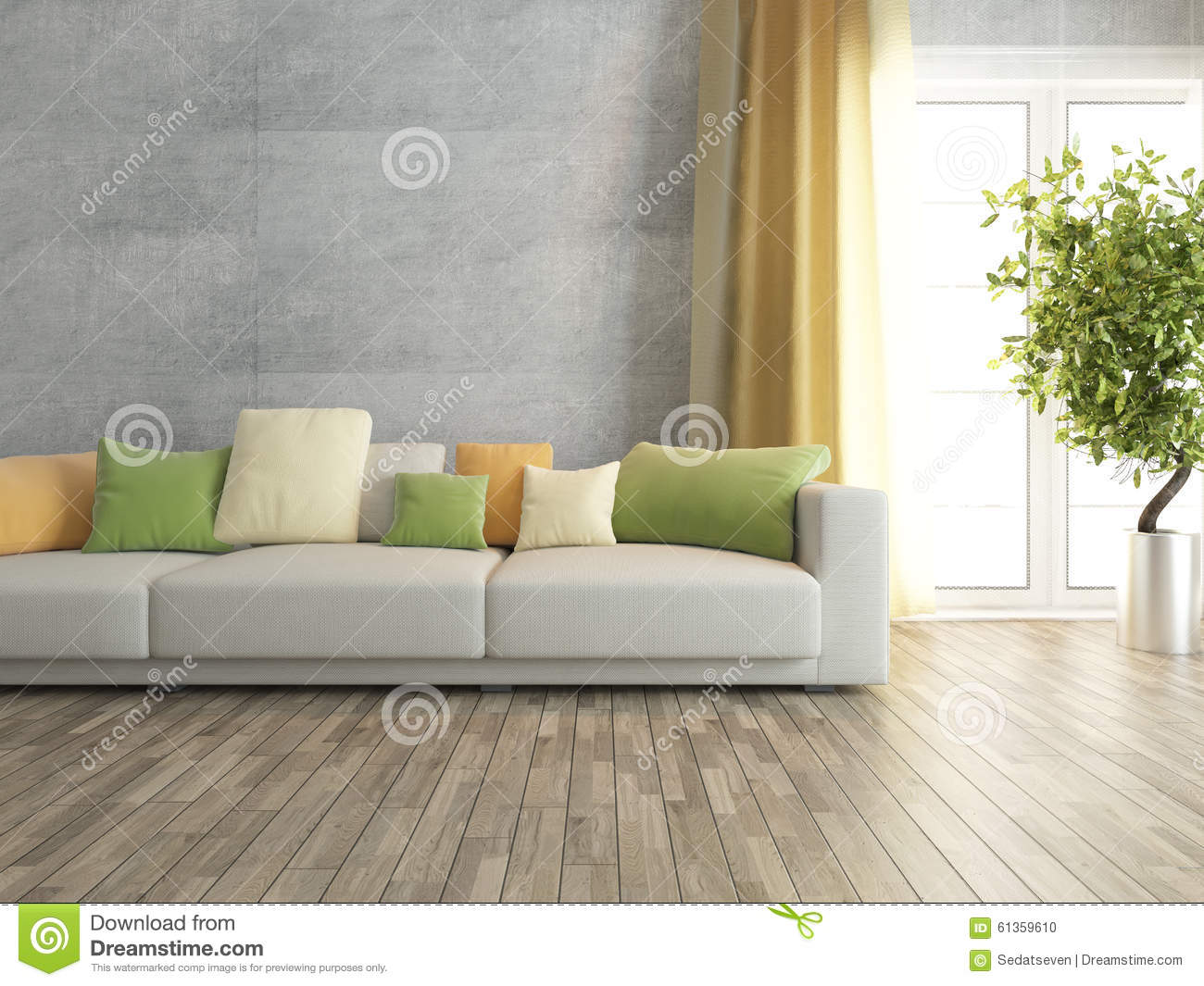 Living Room With Concrete Wall Rendering Stock Illustration ...
