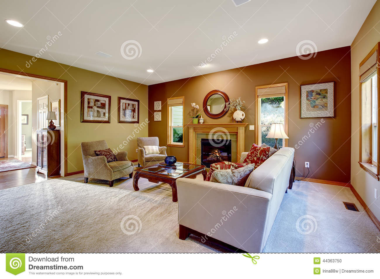Living room with contrast walls and fireplace stock photo for Living room ideas mustard