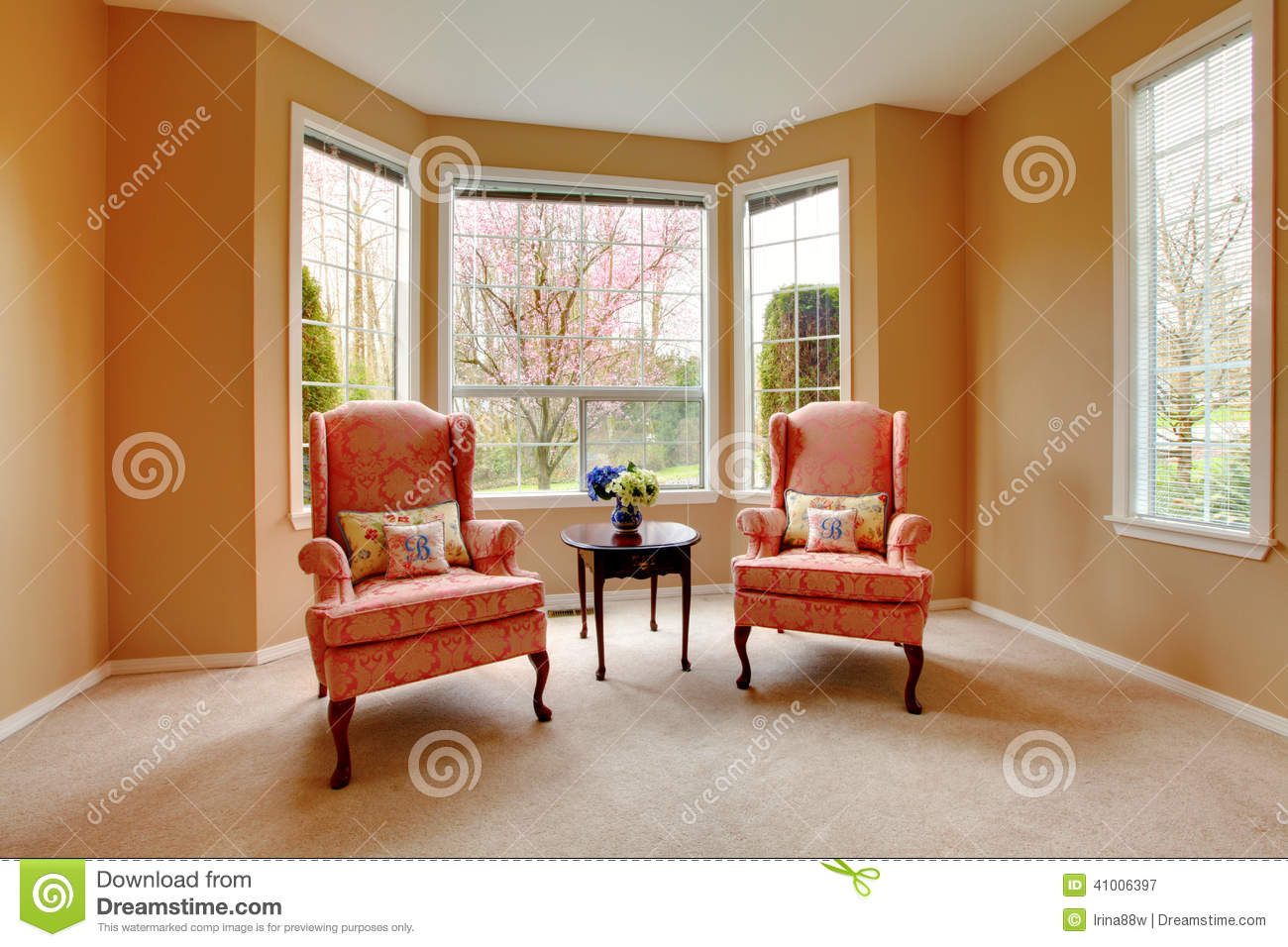 Living Room Corner Chairs: Living Room Corner. Antique Chairs Stock Image