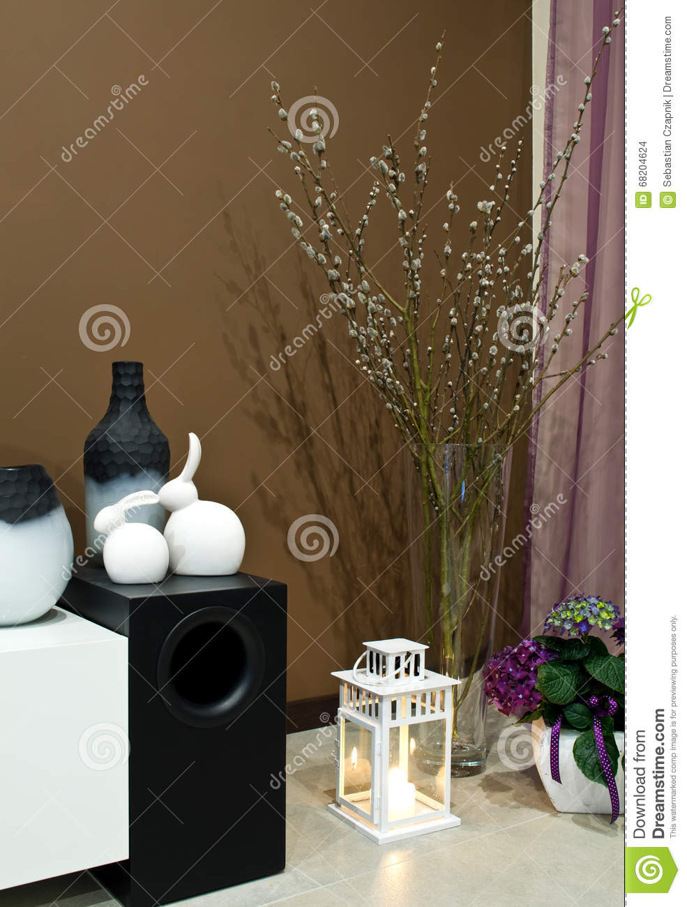 Bass Branches Bunnies Concept Corner Decorated Decoration Easter Flowers Home Hydrangea Living Loudspeaker Nicely Room