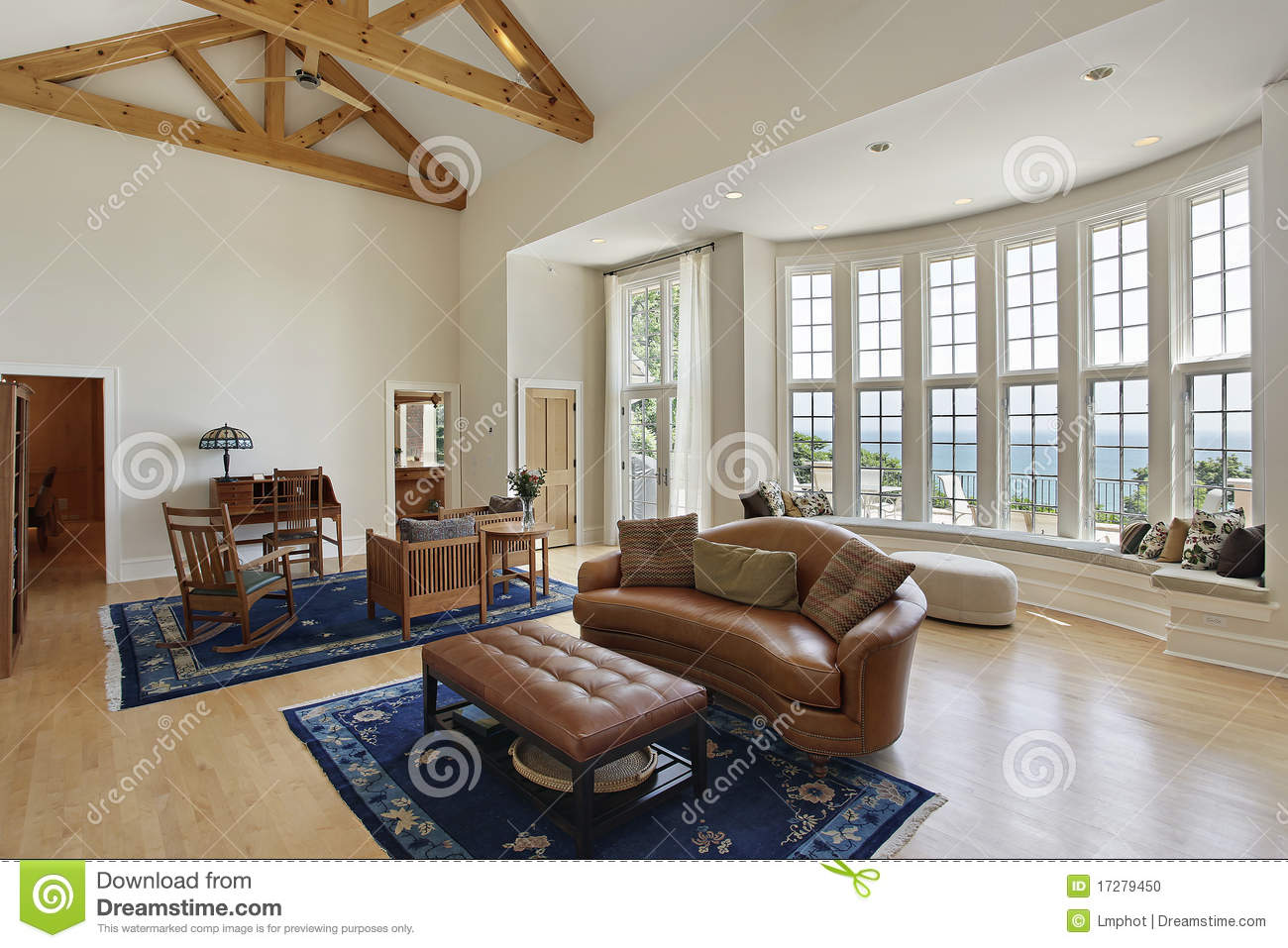 Living Room With Curved Windows Stock Photo Image 17279450