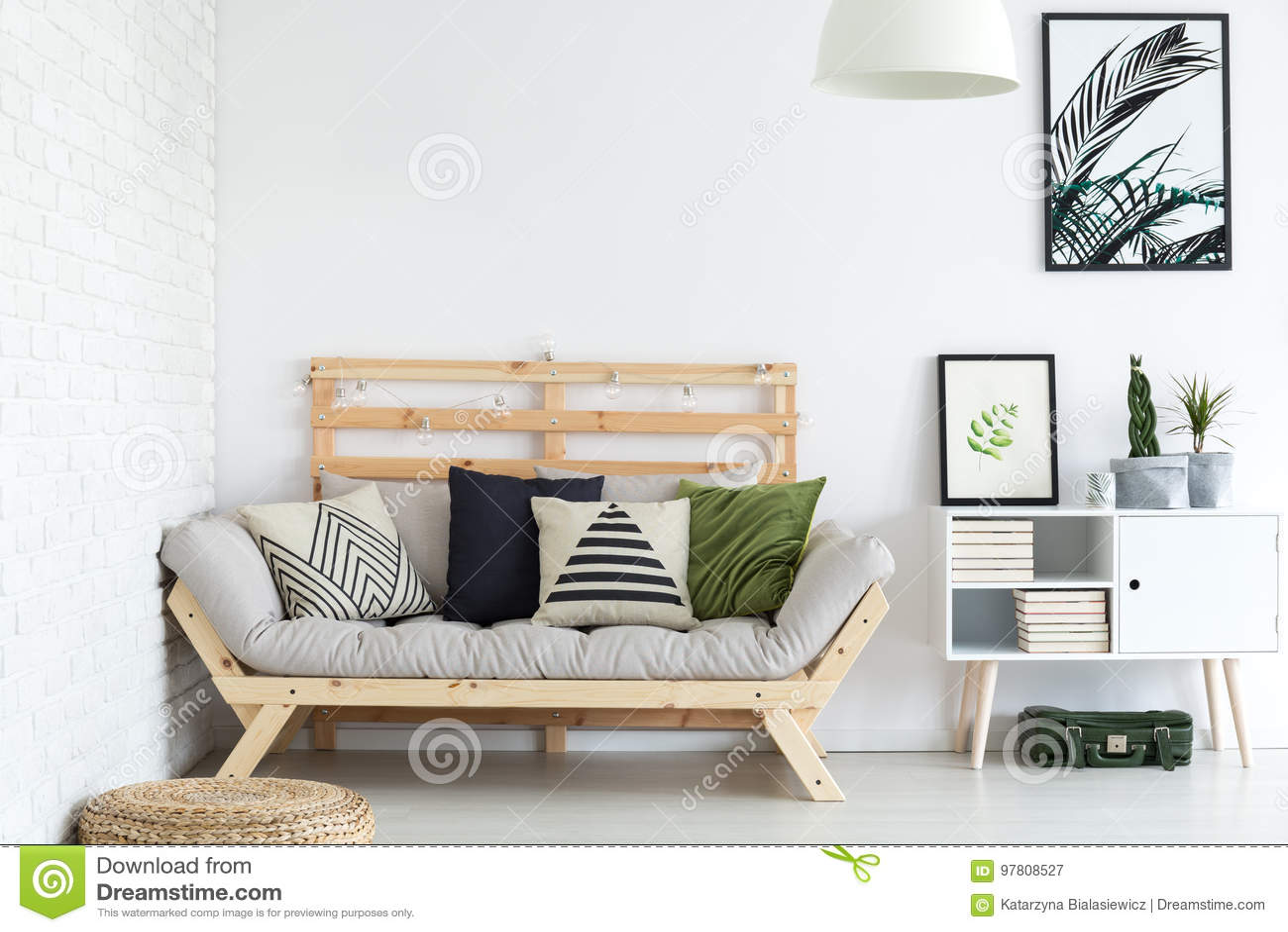 Living room decor stock image. Image of nordic, bricks - 97808527