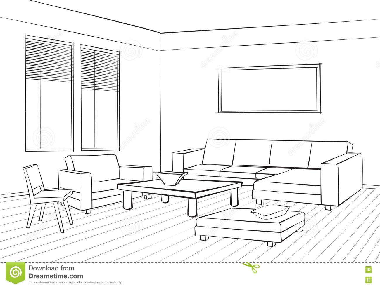 Home Interior Furniture With Sofa, Armchair, Table. Living Room Drawing  Design. Engraves Hand Drawing Illustration