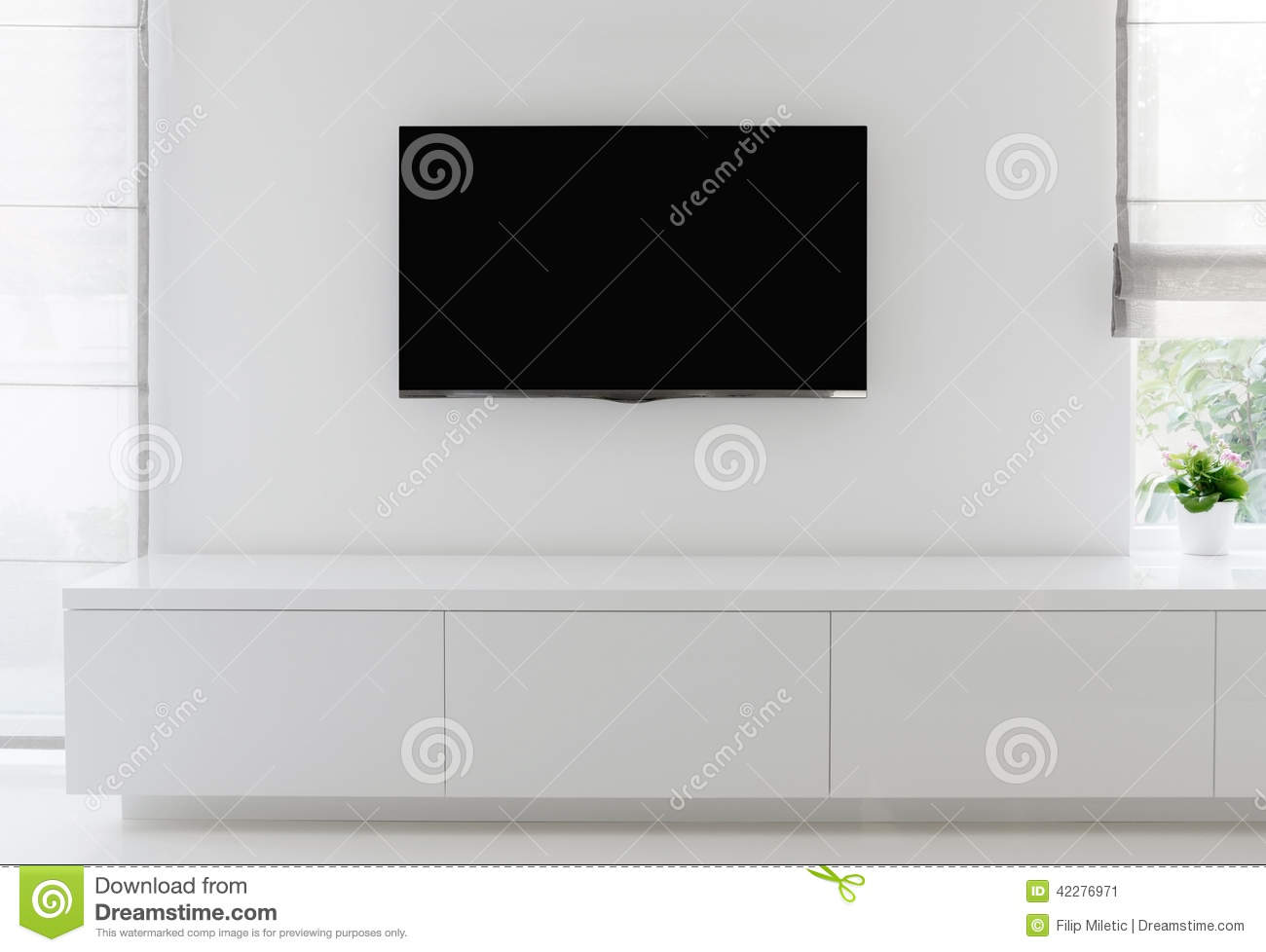 Living Room Detail Tv On Wall Stock Image - Image of residential ...