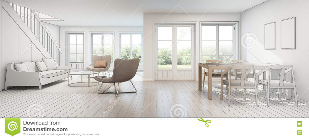 Living Room And Dining Room In Modern House Sketch Design Stock