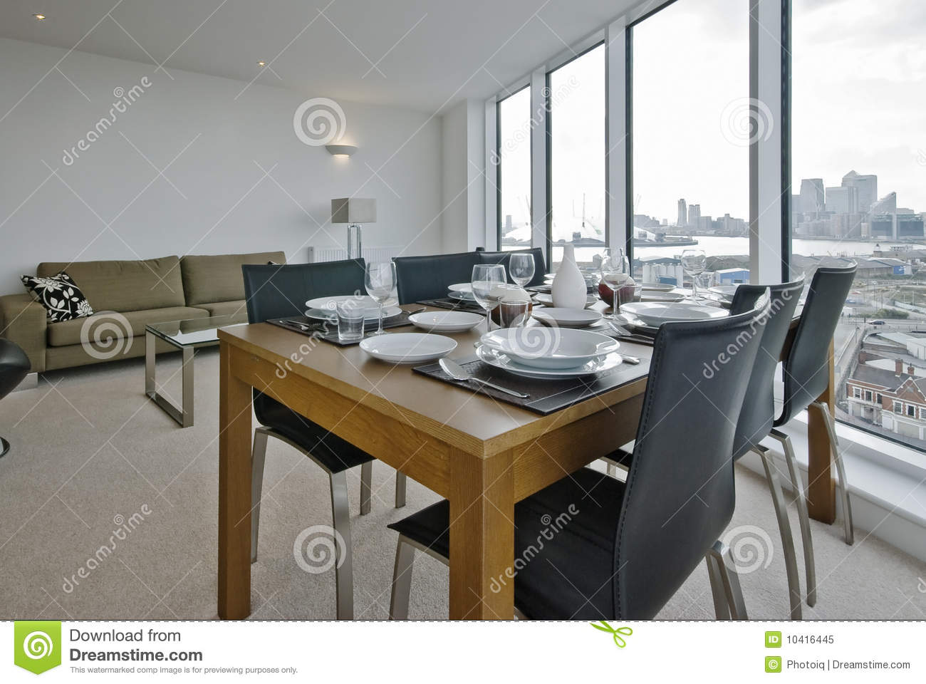 Living room with dining table set up royalty free stock for Dining table in living room pictures