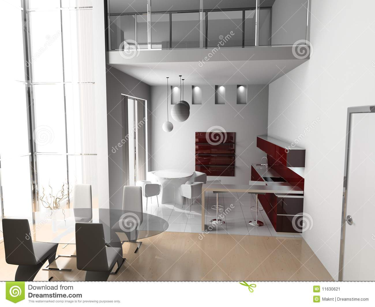 Living a room with a dining zone stock illustration for Living room zones