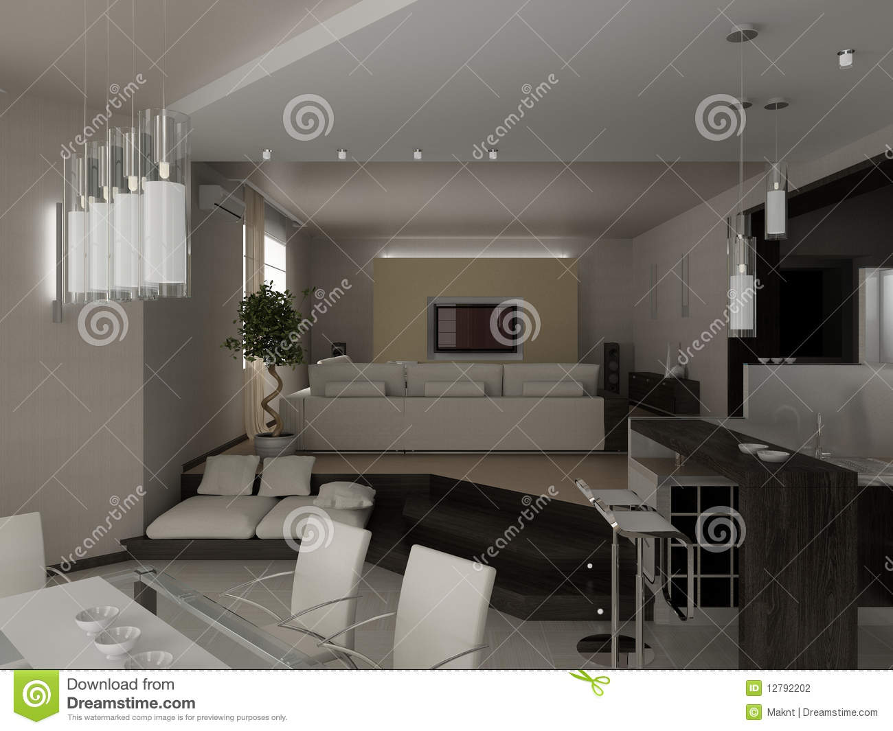 Living a room with a dining zone stock photography image for Living room zones