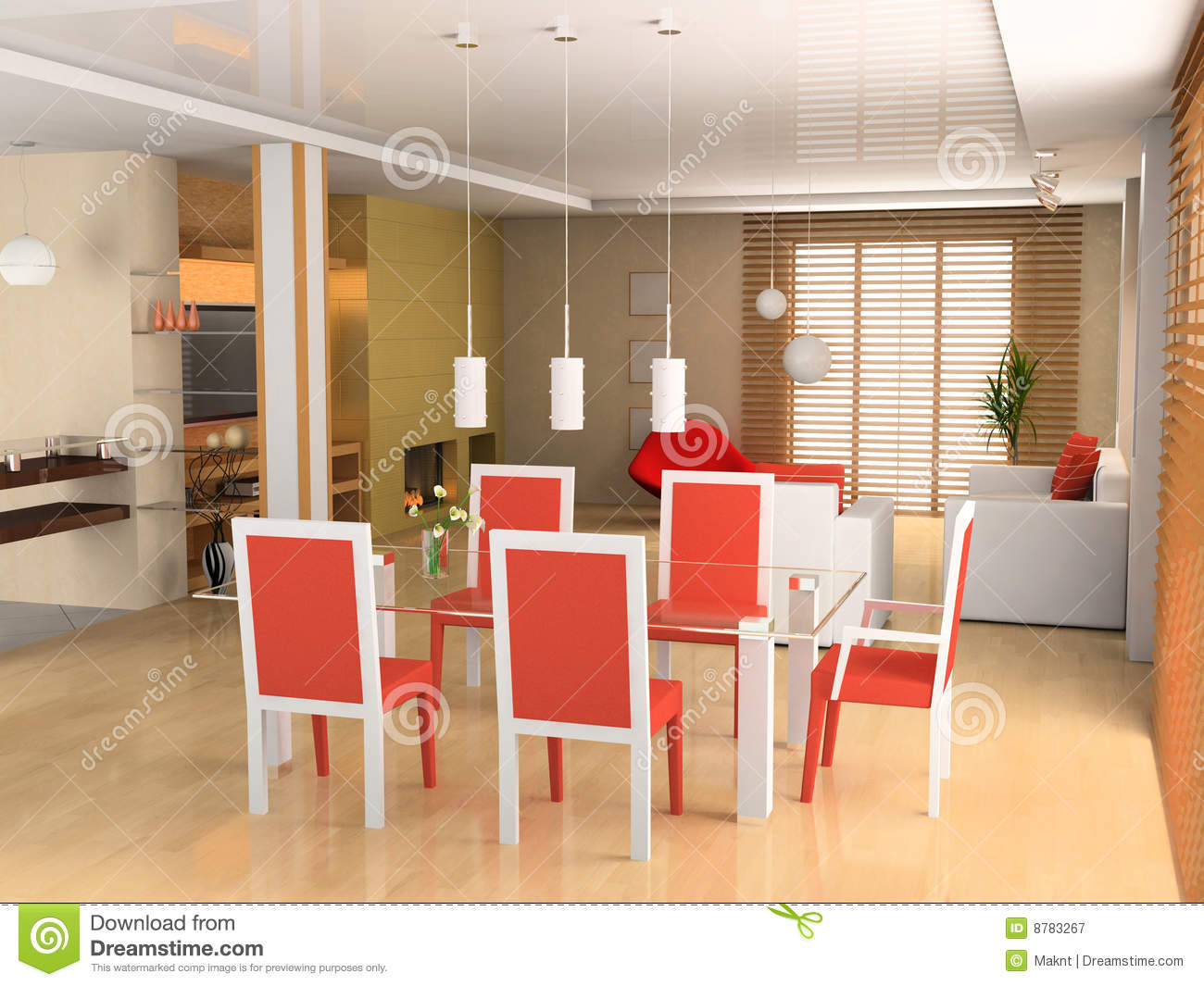 Living a room with a dining zone royalty free stock for Living room zones