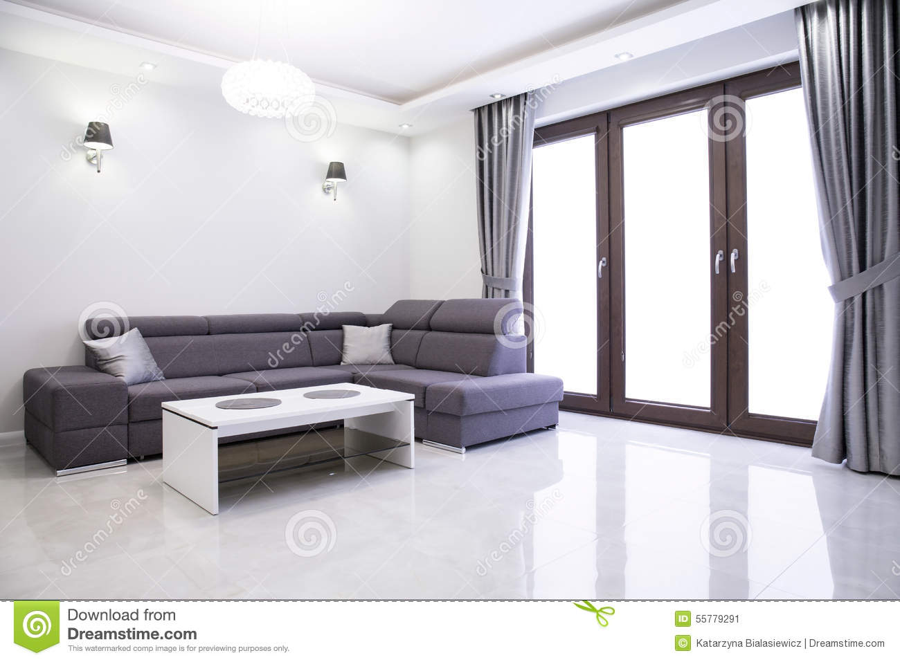Living room with elegant sofa stock image image 55779291 for Elegant contemporary living rooms