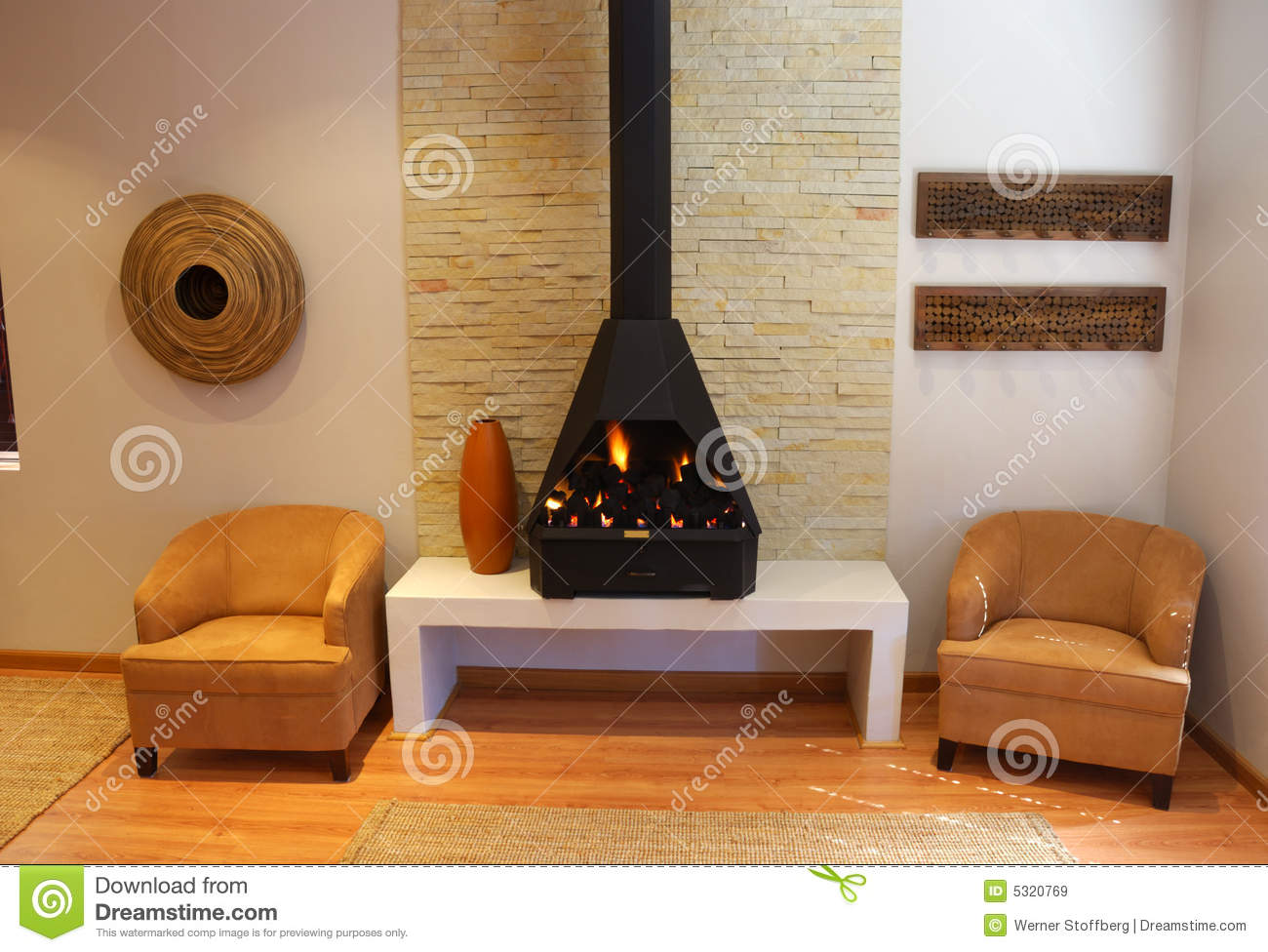 Download Living Room with Fireplace stock image. Image of image - 5320769