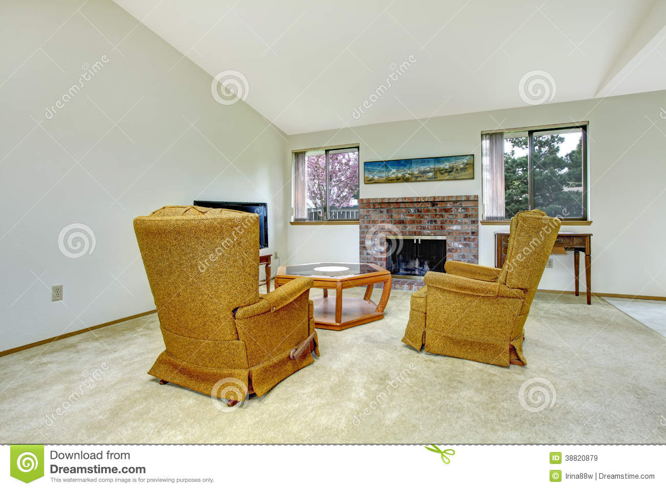 Living Room With Fireplace And Antique Chairs Stock Photo Image 38820879