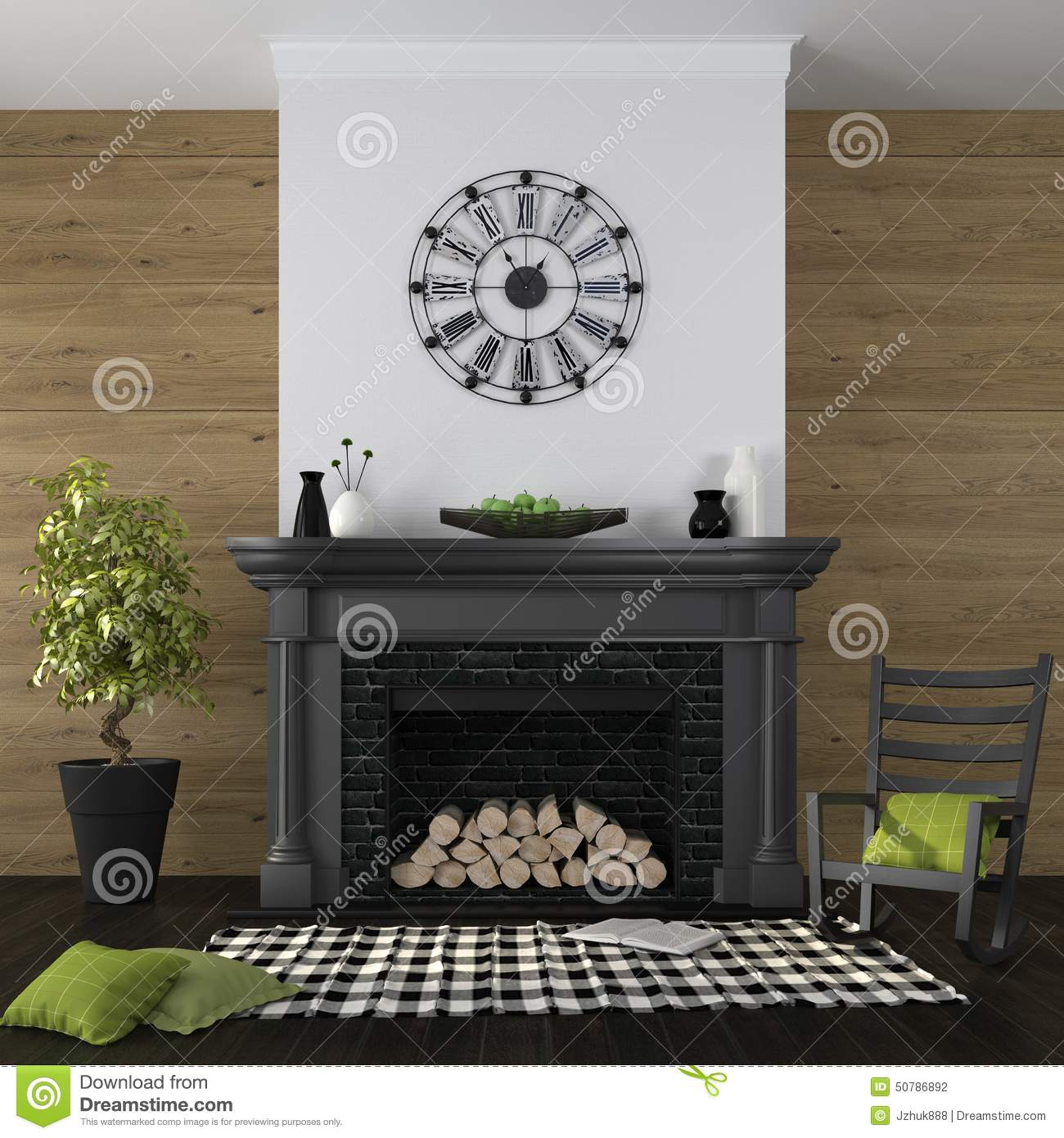 living room with fireplace and black and green decor stock photo