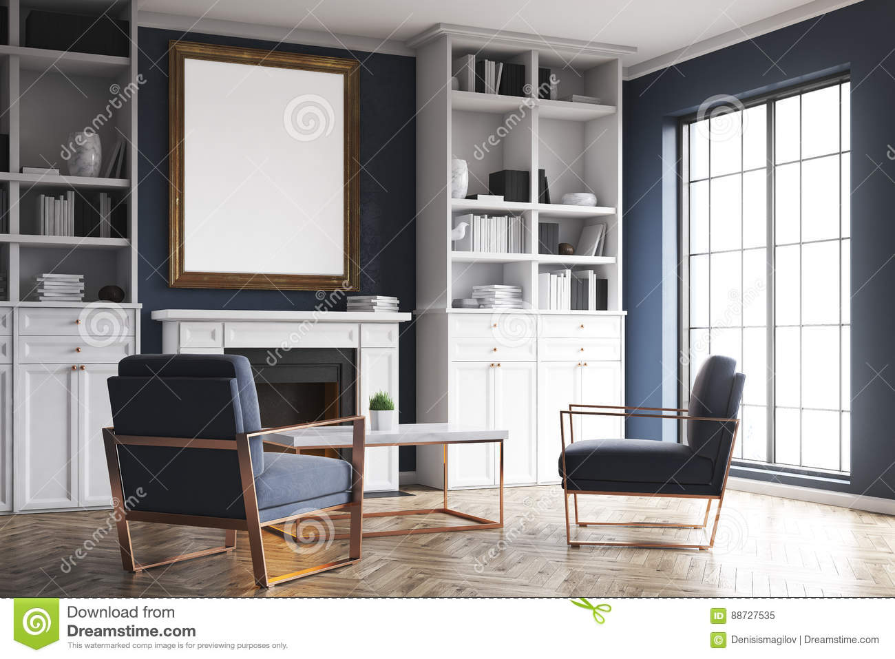 Living Room Fireplace And Blue Armchairs, Corner Stock Illustration ...