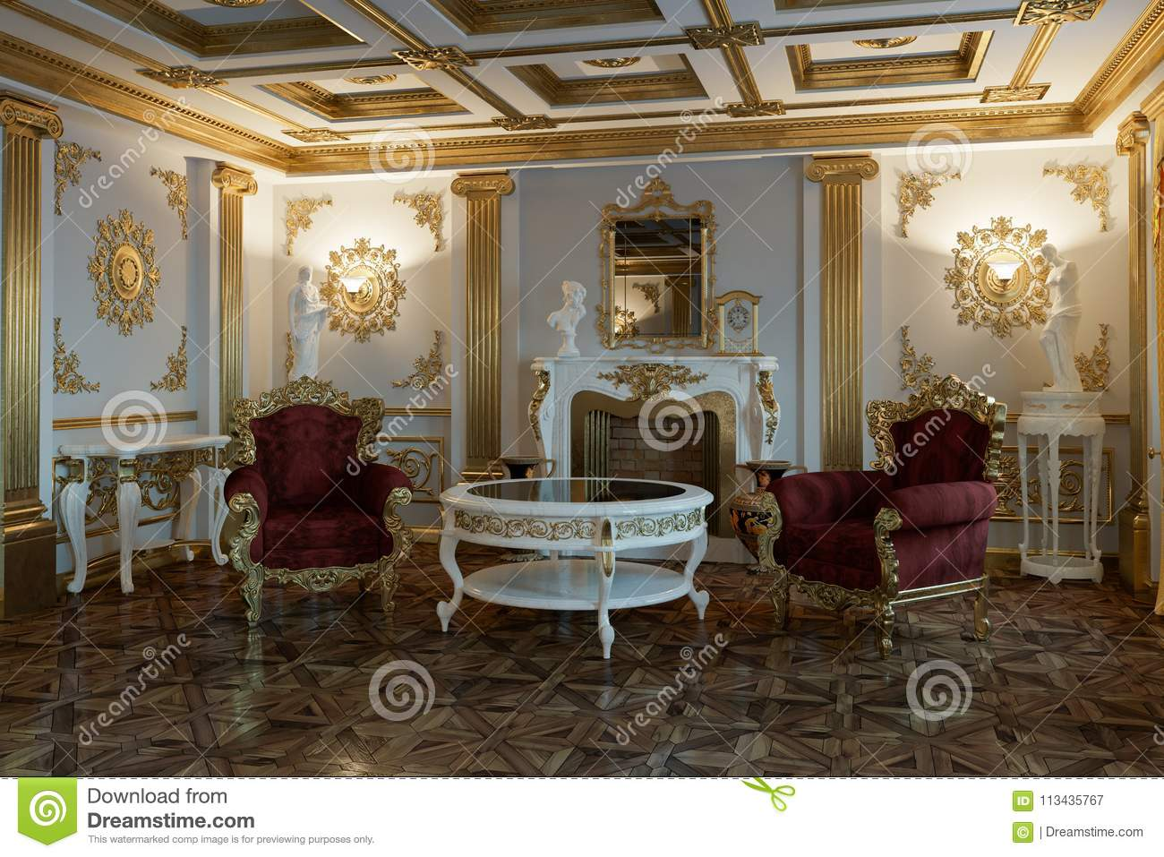 Living room with fireplace in classic style 3d rendering
