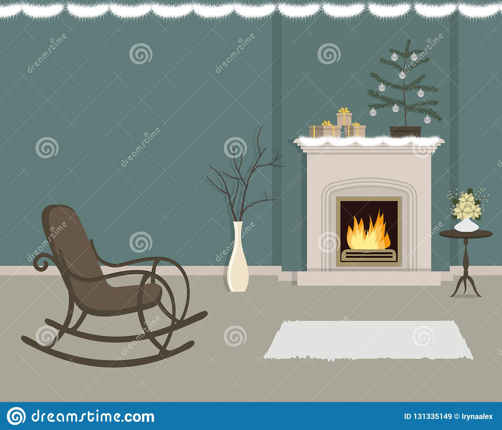 Living room with fireplace, decorated with Christmas decorations