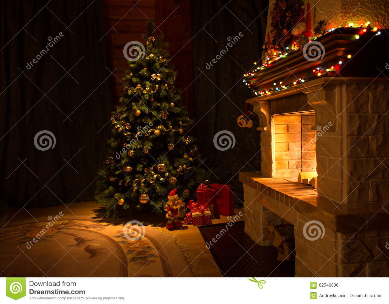 living room with fireplace and decorated christmas tree stock