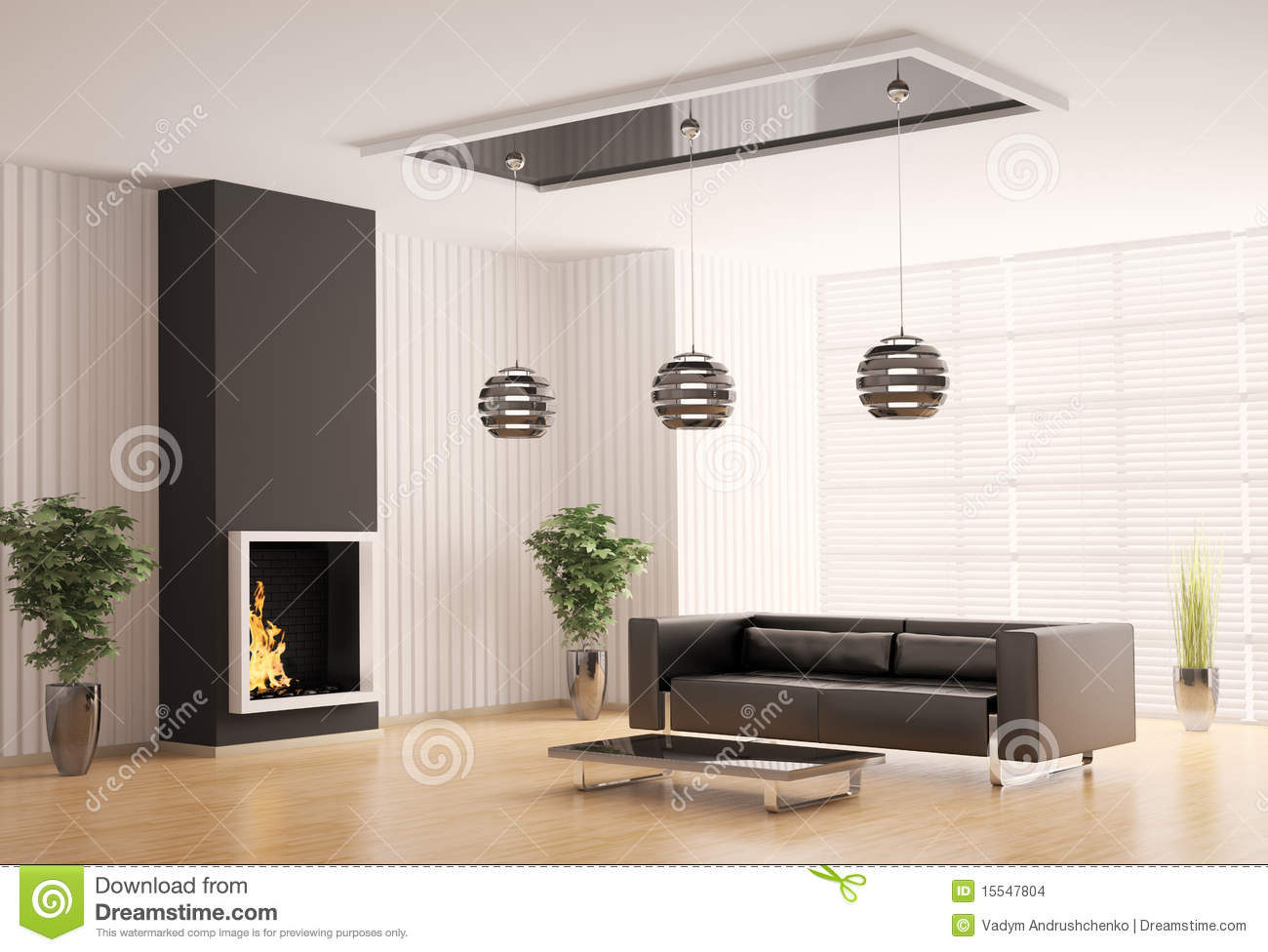Living room with fireplace interior 3d stock illustration for Living room 3