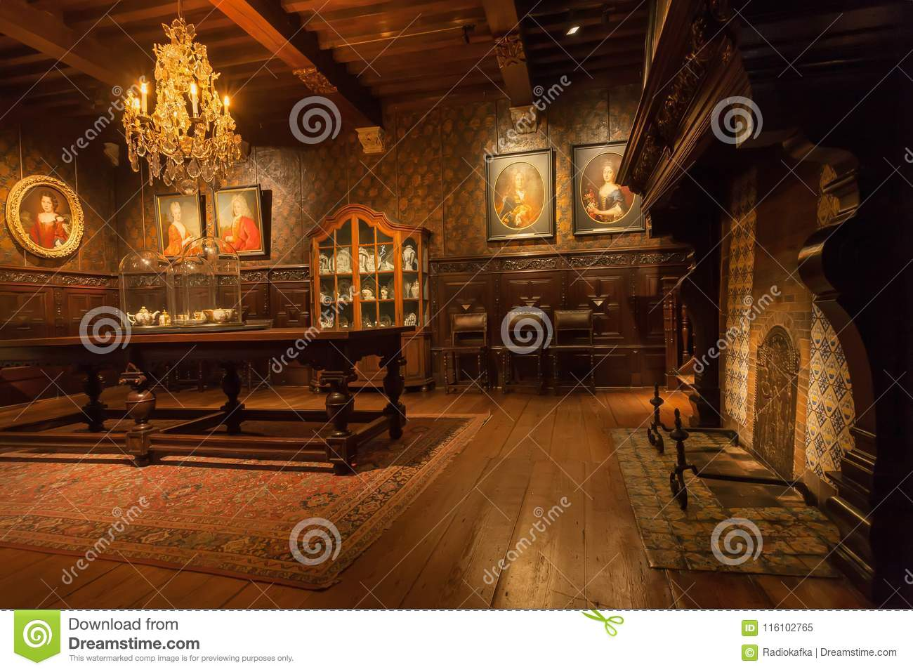 Living Room With Fireplace And Wooden Furniture In Printing Museum