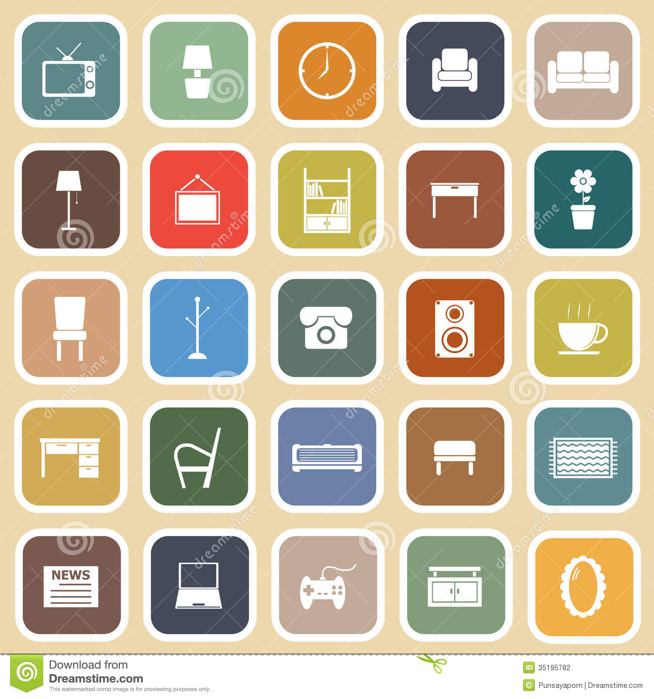 Living Room Flat Icons On Light Background Stock Vector