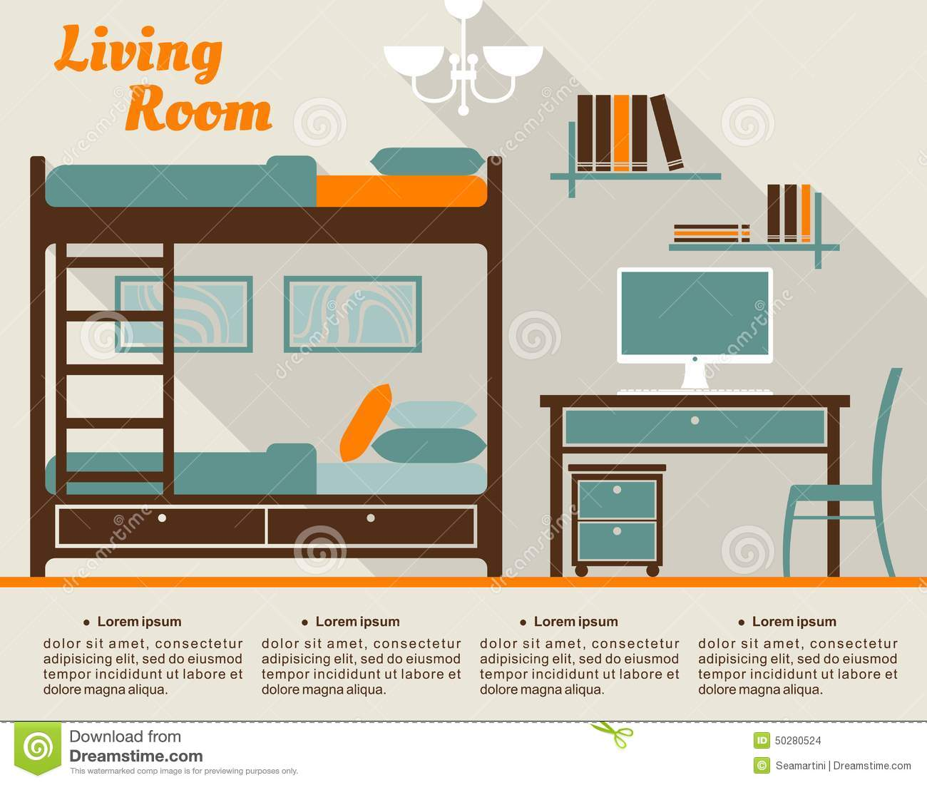 Living room flat interior design infographic stock vector for Room design vector