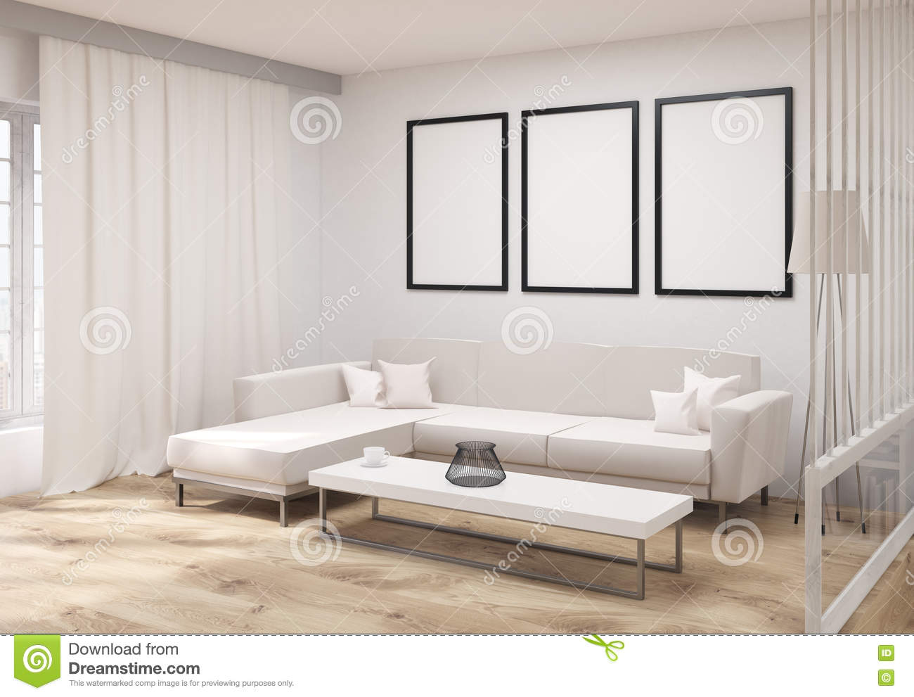 Living room with frames side stock illustration illustration of living room with frames side jeuxipadfo Gallery
