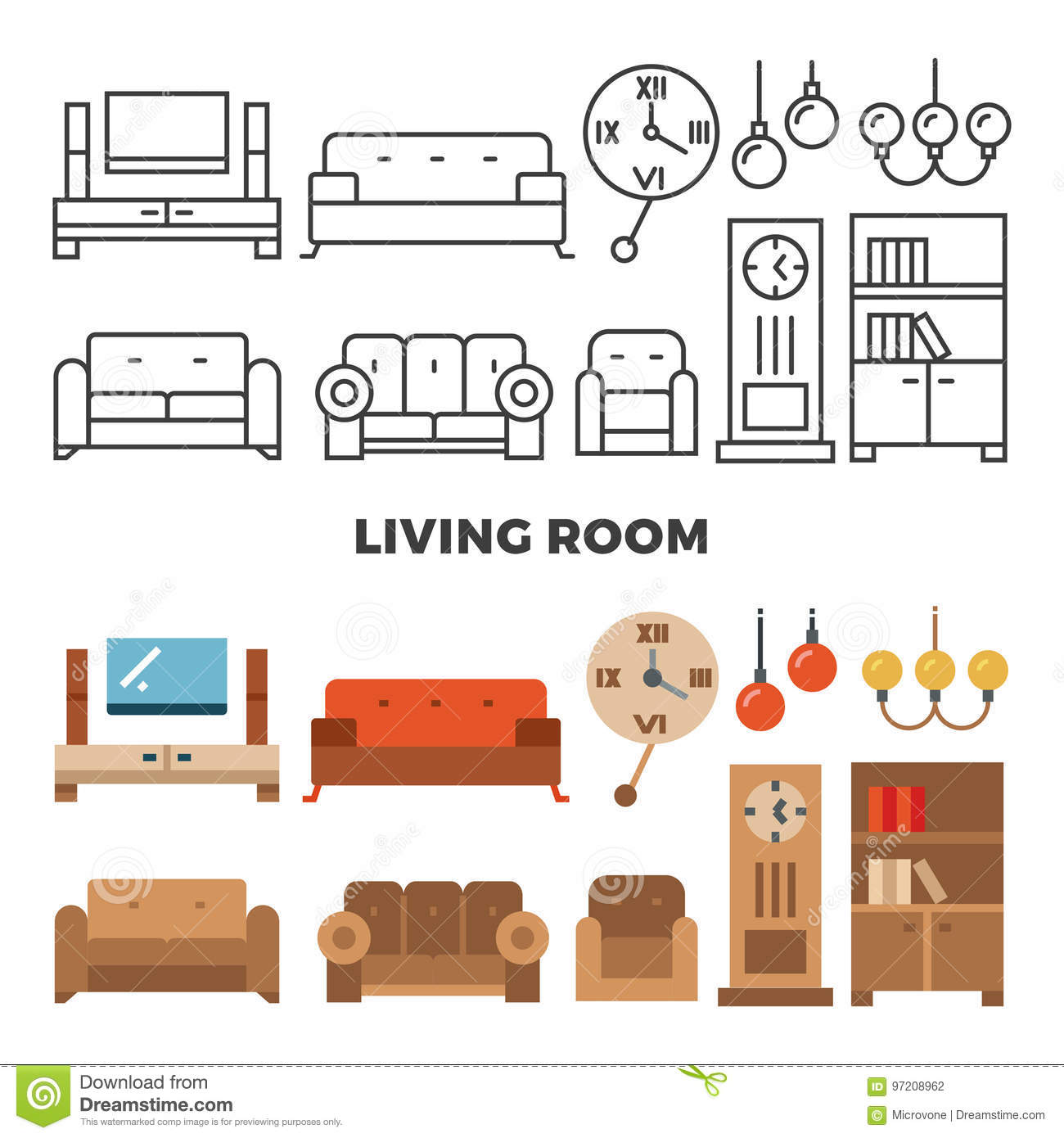 Living Room Furniture And Accessories Collection Stock
