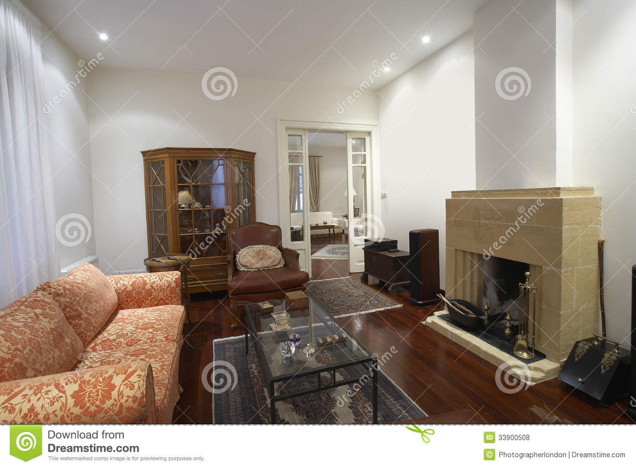 Living Room With Furniture And Fireplace Royalty Free