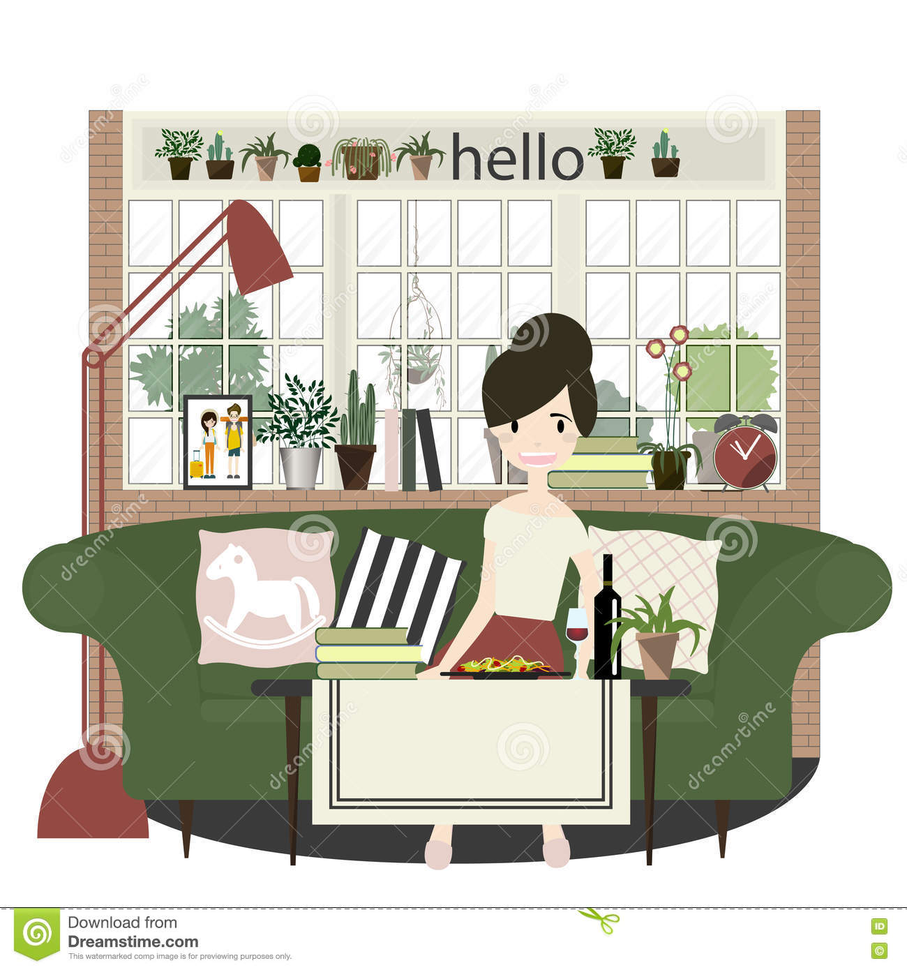 Cozy Living Room Vector Illustration: Flat Style Vector Illustration