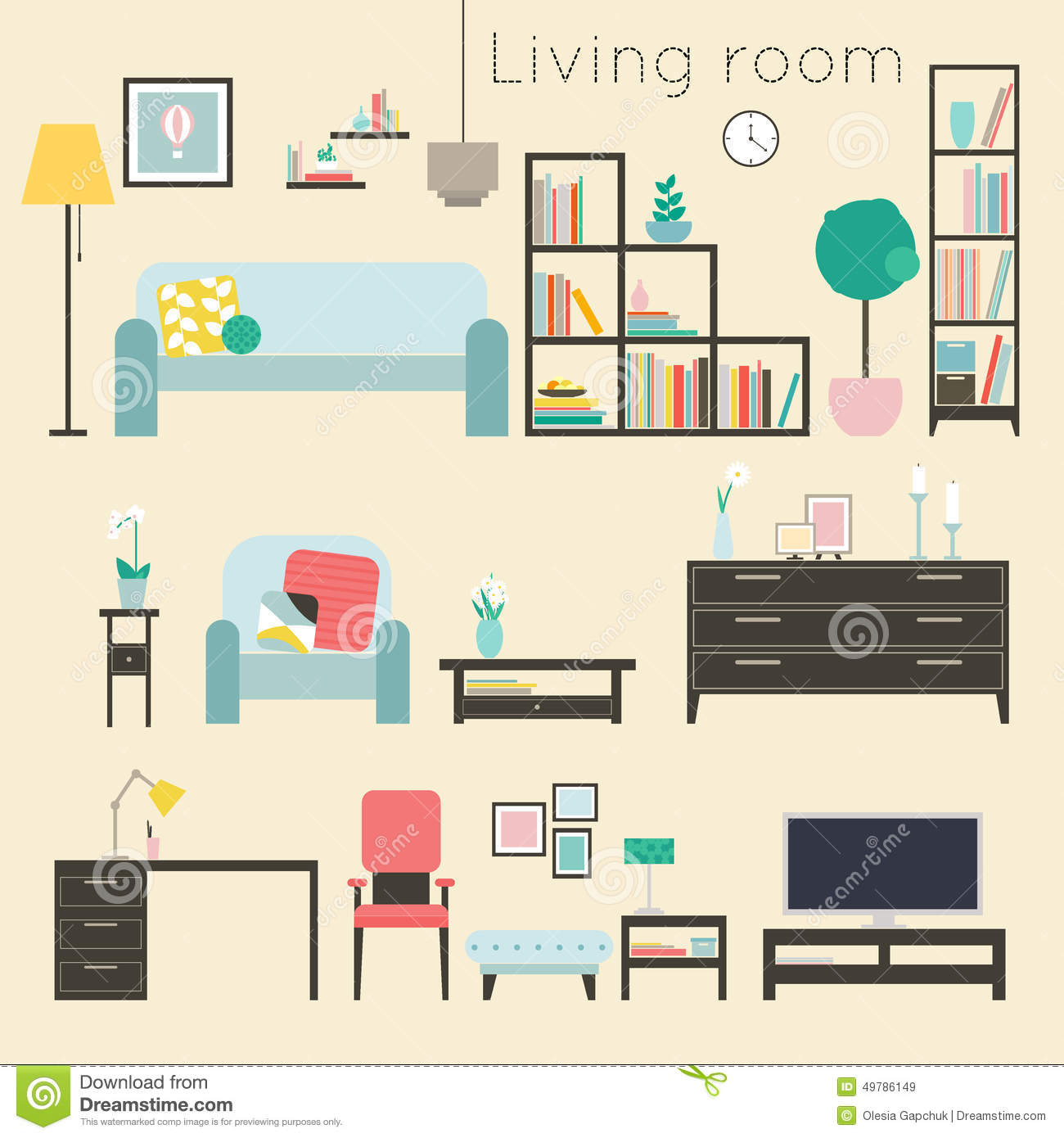 Living room furniture and home accessories including for Living room clipart